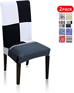 2 Pack Stretch Chair Slipcovers Sets Removable Washable Spandex Chair Covers for Dining Room, Stitching Black-White-Gray Random Combination Versions