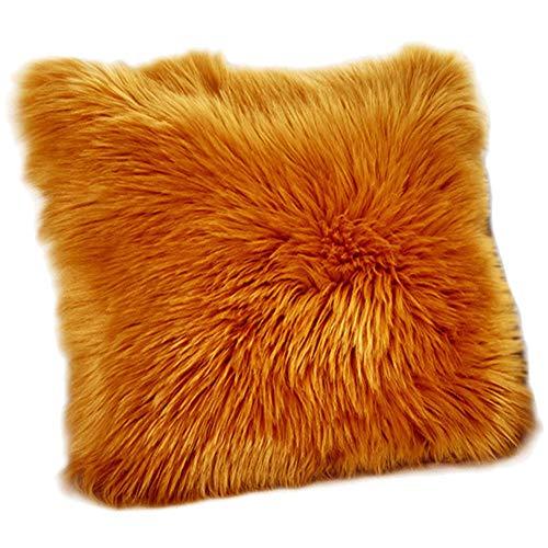 Funda de Cojín, Faux Fur Throw Deluxe Home Decorativo Cuadrados y Suaves Cojines PeloPara la Hogar Sofá Cama del Coche,Camello,50 * 50CM