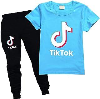 Conjunto de ropa de verano unisex para niños TIK Tok 2 piezas camiseta pantalones largos