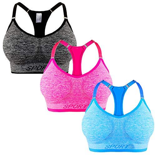 Libella 3er Pack Damen Bügelloser Sport-BH mit verstellbaren Trägern Gepolsterte Cups entfernbar 3714 Schwarz+Pink+HellblauL/XL
