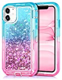 JAKPAK Case for iPhone 11 Case for Girls Women Glitter Sparkle iPhone 11 Case Heavy Duty Shockproof Protective Shell with Dual Layer Hard PC Bumper TPU Back Cover for iPhone 11 6.1 inches Teal Pink