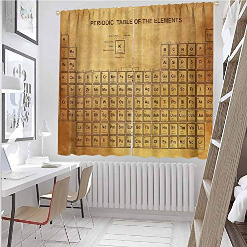 Toopeek Science Premium blackout curtains Elements Chemistry Table Vintage Old Design for Scientists Student Print Kindergarten noise reduction curtains W63 x L72 Inch Sand Brown Brown