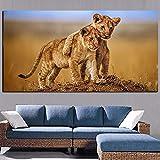 Cuadro de lienzo de animales con cachorros de León de amor fraternal africano, carteles e impresiones de animales salvajes, cuadros artísticos de pared para sala de estar 60x120 CM (sin marco)