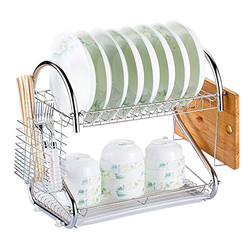 Decdeal Multi-Functional 2-Tier Dish Rack, Dish Drying Rack Kitchen Storage Rack Draining Cabinet Rack with Chopsticks/Knives/Cutting Board Holder Drainboard