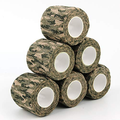AIRSSON 5 rollos de cinta de camuflaje para arma, fusil, escopeta, camping, caza, 2.0in x 5 yardas, autoadhesivo (Woodland Camo – 6 unidades)