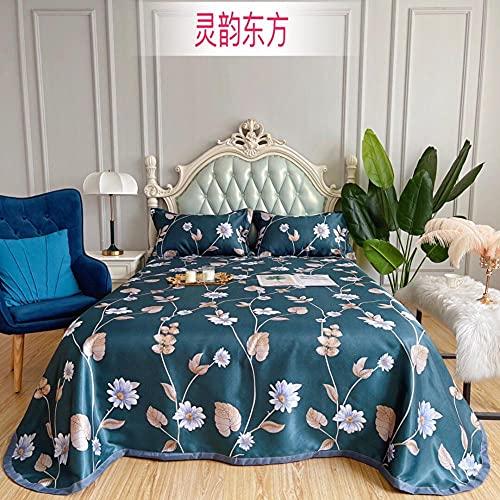 La funda de almohada de la estera de seda de hielo se puede lavar y plegable en verano, juego de tres piezas de ropa de cama con estera suave con aire acondicionado en verano-C_230 * 250cm (3pcs)
