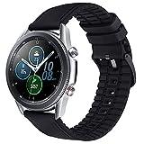 Wingle compatibile con cinturino per orologio Samsung, in microfibra da 22 mm e silicone ibrido di ricambio per Huawei GT2 Watch Strap 46 mm, Galaxy Watch 46 mm, Galaxy Watch 3 45 mm cinturino (nero)