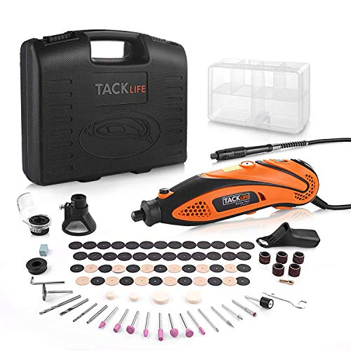 Tacklife Multi-Functional Rotary Tool Kit with 80 Accessories and 3 Attachments Variable Speed with Flexible Shaft for Home Improvement or Crafting Projects, Ideal Gift for Father's Day | RTD35ACL