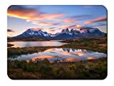 南アメリカ、チリ、パタゴニア、アンデスの山々、湖、日没 パターンカスタムの マウスパッド 旅行 風景 景色 (26cmx21cm)