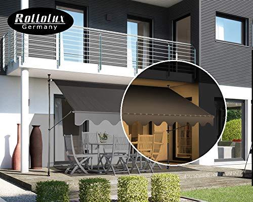 Rollolux LED Klemmmarkise Anthrazit/Grau 350 x 120 cm Markise Balkonmarkise Sonnenschutz - mit Gestell ohne Bohren – UV-beständig - Höhenverstellbar 230-300 cm