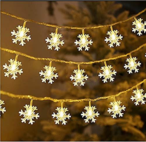 A-Generic 40 Cuerdas de Copo de Nieve LED para decoración Interior y Exterior, Boda, Fiesta de cumpleaños (Fuente de alimentación USB) - 6 m