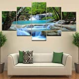 DAFFG Impresiones E Grabados sobre Lienzo Composición De 5 Partes Fotografica 5 Cuadros Pared Bosque Río Cascada Brillante Tranquilo-150x80 cm