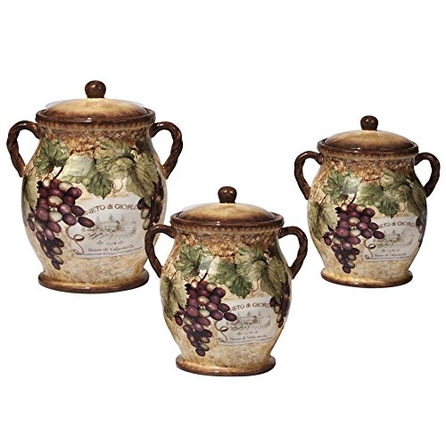 Certified International 3 Piece Gilded Wine Canister Set, Multicolored