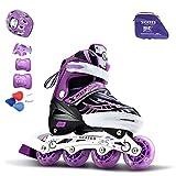 YIQI インラインスケート ローラースケートサイズ調整可能 発光 大人 キッズ 子供用 初心者向け メッシュ 通気性抜群 ローラーシューズ ローラーPU セット 15点セット ローラースケート (パープル, S(18~21cm))