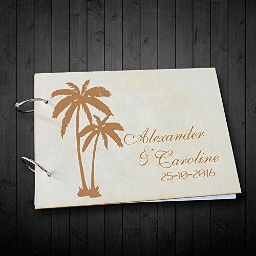 Palm Árbol Personalizado Nombre y fecha duro superficie libro de invitados para boda álbumes de fotos recuerdos aniversario regalos