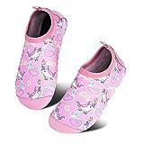 HMIYA Toddler Kids Water Shoes Swim Pool Shoes Non Slip Barefoot Quick Dry Aqua Socks for Boys Girls (Unicorn/Pink B, 24/25)