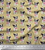 Soimoi Beige Viskose Chiffon Stoff Bogen und Boston-Terrier