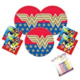 Wonder Woman Super Hero Girls Party Supplies Pack Serves 16: 9' Plates and Luncheon Napkins with Birthday Candles (Bundle for 16)
