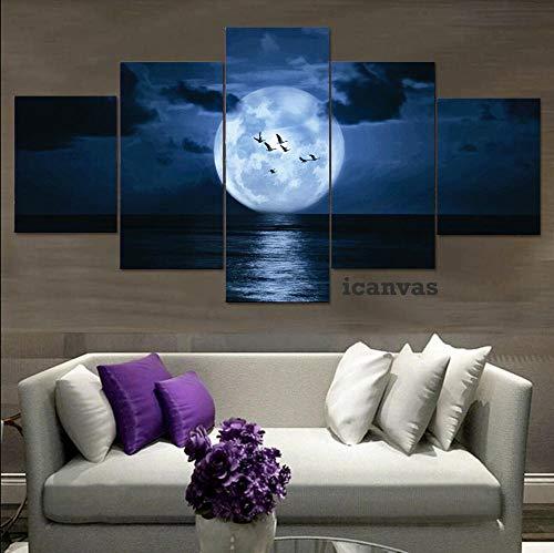 YUANJUN Blue Moon Sea Night 5 hochauflösende Kunstplakatwand Wohnkultur Leinwanddruck