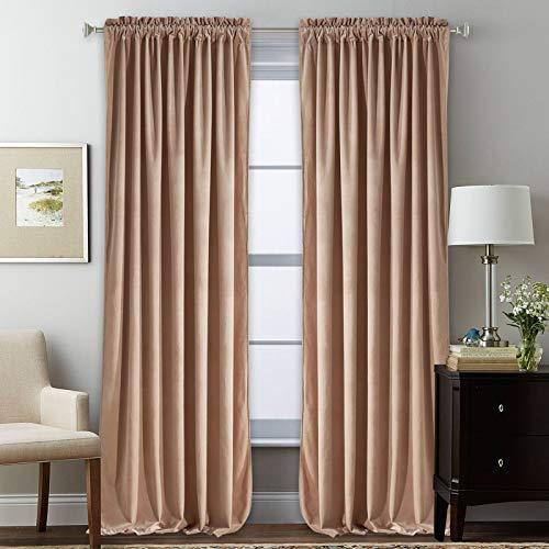 Nursery Sunlight Blush Velvet Curtains - Elegant Interior Decoration Large Window Blackout Velvet Drapes for Living Room, 52 x 96 Inches Long, Blush Beige, 2 Pcs