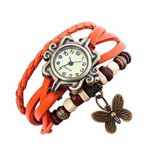 Demarkt Retro Vintage Damen Frauen Armbanduhr Armreif Uhr Schmetterling Design Anhänger Spangenuhr Quarzuhren (Orange)