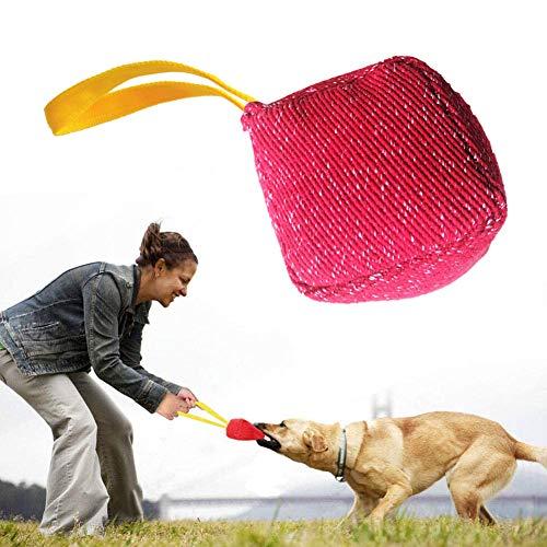 PetGens Beisswurst für Hunde, Hundebiss Spielzeug, Hundespielzeug Schlepper Hundetraining Spielzeug Durable, mit 1 starken Griffen (rot)