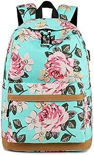 FYXKGLa Canvas New Middle School Student Bag Fashion Female Shoulder Bag Travel Leisure Backpack Female Bag Computer Bag (Color : Green, Size : 17 inch)