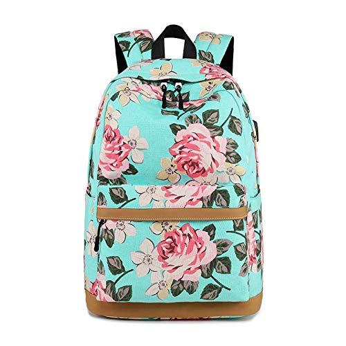 Laptoprugzak, professioneel en duurzaam, voor dames, bedrukt, eenvoudige modus, geschikt voor scholen, boodschappen (kleur: groen)