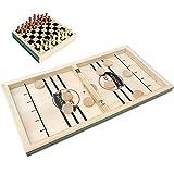 ZGDGG Juego de hockey de madera plegable 2 en 1, juego de mesa de ajedrez y futbolín, juego de mesa portátil, juego rápido de tirachinas de 56 cm para niños, adultos