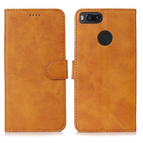 Eastcoo Xiaomi Mi A1 Hülle Premium PU Leder Handyhülle Brieftasche-Stil Magnetisch Folio Flip Klapphülle Schutzhülle Mit StandfunktionTasche Case Cover für Xiaomi Mi A1 (Xiaomi M1 A1, Khaki)