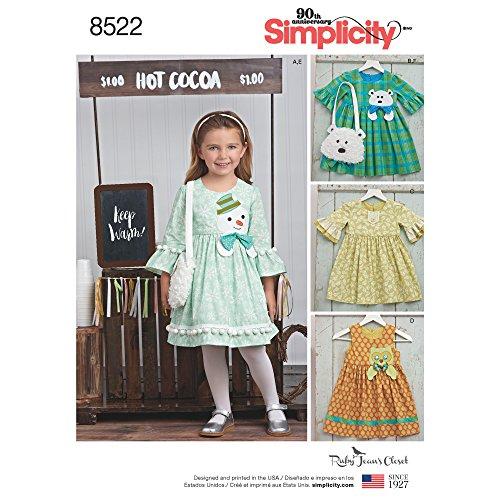 Simplicity patroon 8522 A (3-5 – 6-7–8) kinderjurken en handtassen van Ruby Jean 's Closet, papier, wit, 22 x 15 x 1 cm