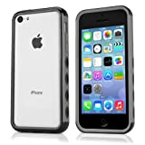 Case for iPhone 5c (Case by BoxWave) - BumperGrip, Hard Shell Clear Back Case w/Rubber Colored Edges for iPhone 5c, Apple iPhone 5c - Jet Black
