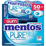 Mentos Pure Fresh Sugar-Free Chewing Gum with Xylitol, Fresh Mint, 50 Piece Bottle (Bulk Pack of 6) by Mentos