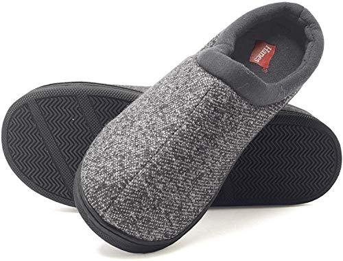 Hanes Comfort Soft Memory Foam Indoor Outdoor Clog Slipper Shoe - Men's and Boy's Sizes, Grey, Large