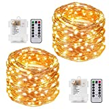Kohree String Lights LED Copper Wire Fairy Christmas Light with Remote Control, 33FT 100LEDs, 4 Packs 8 Modes AA Battery Powered, Seasonal Decor Rope Lights for Christmas Decor, Party, Wedding