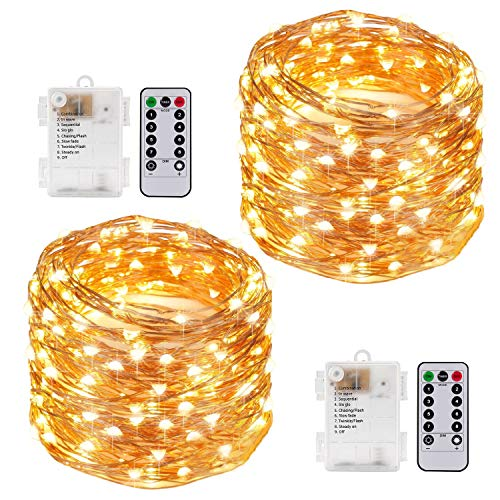Kohree 2 Pack 33FT 100 LEDs Fairy Lights Battery Operated with Remote Control Timer, Outdoor String Lights with 8 Modes for Bedroom Room Decoration, Fit for Easter, Mother's Day