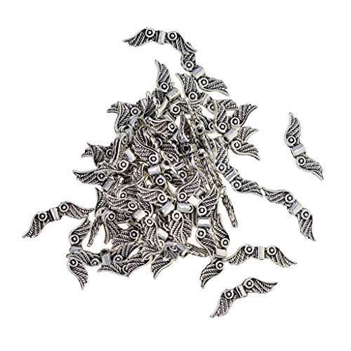 Harilla 100 Cuentas de Abalorios Espaciadores de Alas de ángel de Plata Tibetana, Fabricación de Bricolaje, 23x7mm
