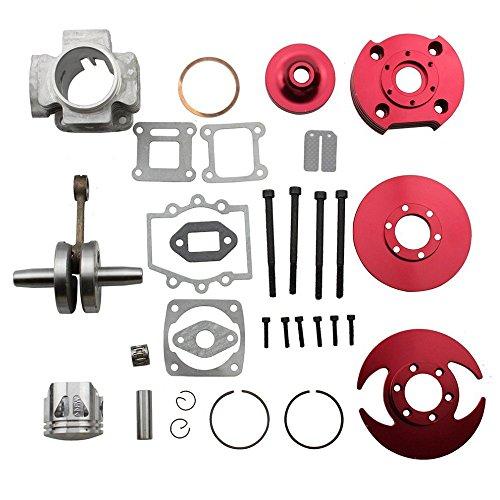 Big Bore 7 Tuning Motor Set Pocketbike Motor 49ccm Dirtbike Motor Set Rot Zylinder + Kurbelwelle + Zubehör Set