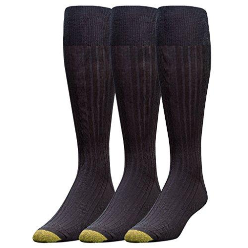 Gold Toe Men's Canterbury Over-The-Calf Dress Socks, 3 Pairs, Black, Shoe Size: 6-12.5