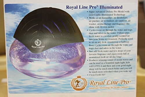 Royal Line Pro (R) Deluxe Illuminated Air Purifier Humidifier Revitalizer Cleaner Fragrance Dispenser Aroma Therapy Machine + Eucalyptus with Menthol fragrance! Beautiful Grey/Silver with LED Lights! Pro Model!