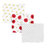 Hudson Baby Unisex Baby Cotton Muslin Swaddle Blankets, Poppy Daisy 3-Pack, One Size