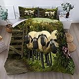 JXSMYT Juego de ropa de cama para niños de Shaun La oveja Shaun (135 x 200 cm, funda de almohada de 50 x 75 cm, microfibra, diseño de oveja, XYXE-4,155 x 220 cm + 2 x 80 x 80 cm)