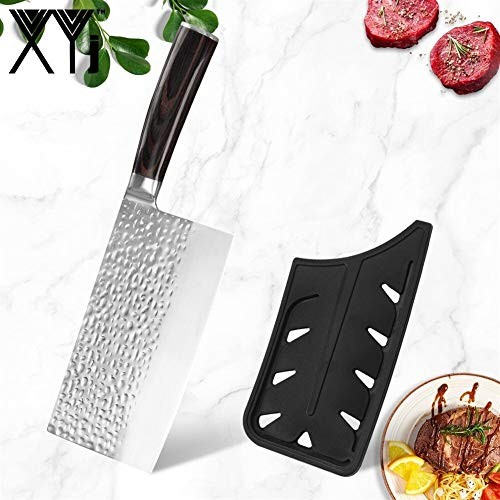 Kochmesser XYJ 7 Zoll Chinese Cleaver Geschmiedet Hackmesser Edelstahl Handgemachte Messer Multifunktionsküche Butcher Schmieden Chef Werkzeuge (Color : Metallic)