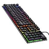 Tastatur LED-beleuchtete USB-Gaming-Tastatur Gaming Mode Mechanische Gaming-Tastaturkabel Manipulator fühlen Gaming-Tastatur Kabelgebundenes USB-Computerzubehör mit Hintergrundbeleuchtung