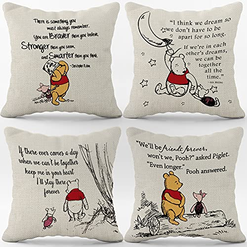 Winnie The Pooh and Piglet Linen Throw Pillow Case, 18 x 18 Inch Set of 4, Friendship Gifts Decor, Winnie The Pooh Theme Room, Student Gift, Back to School Gift, Cushion Cover for Sofa Couch Bed