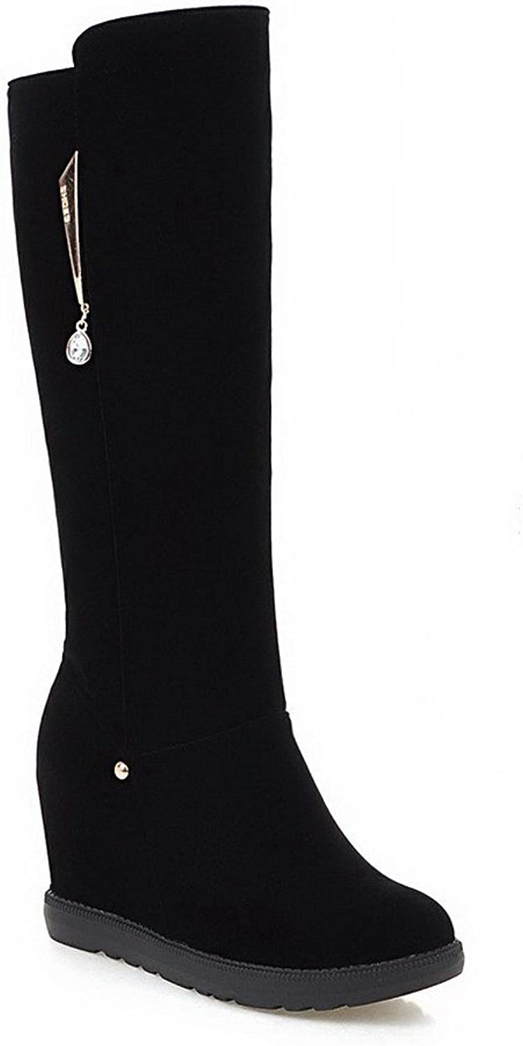 AllhqFashion Women's High top Solid Pull-on Round Closed Toe High-Heels Boots