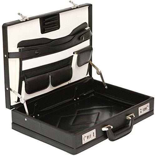 Tassia Attache Leather Look Expanding Briefcase - Twin Combination Locks