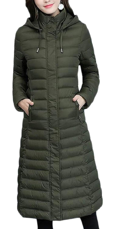 maweisong レディース冬ライトスリムジップフードロングジャケットダウンパディングコート