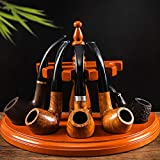 Konesky Wooden Tobacco Pipe Stand Rack Display Holder for 5 Pipes Rack Rose Wooden Smoking Pipe Stand Safer and More Practical