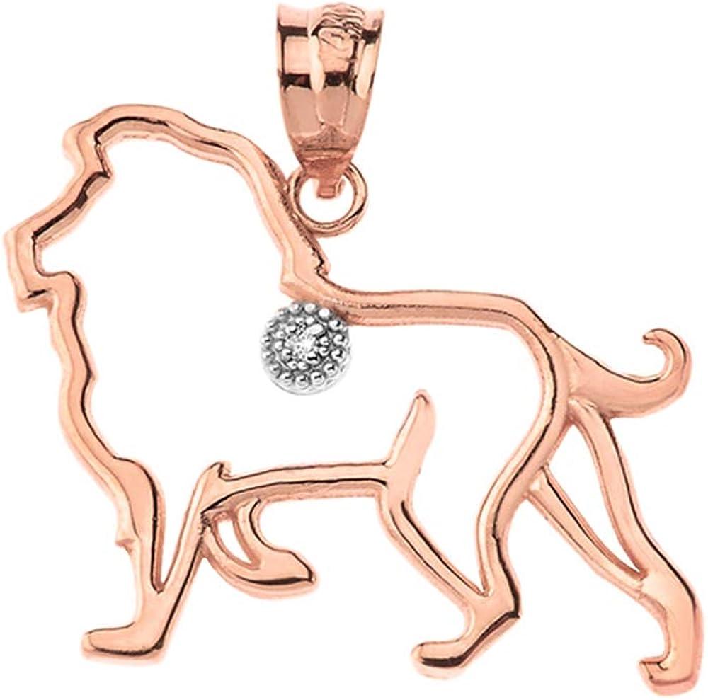 Free shipping / New 10k Cheap Rose Gold Solitaire Diamond Leo Zodiac Outline Charm Sign Ki